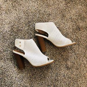 White peep-toe heels